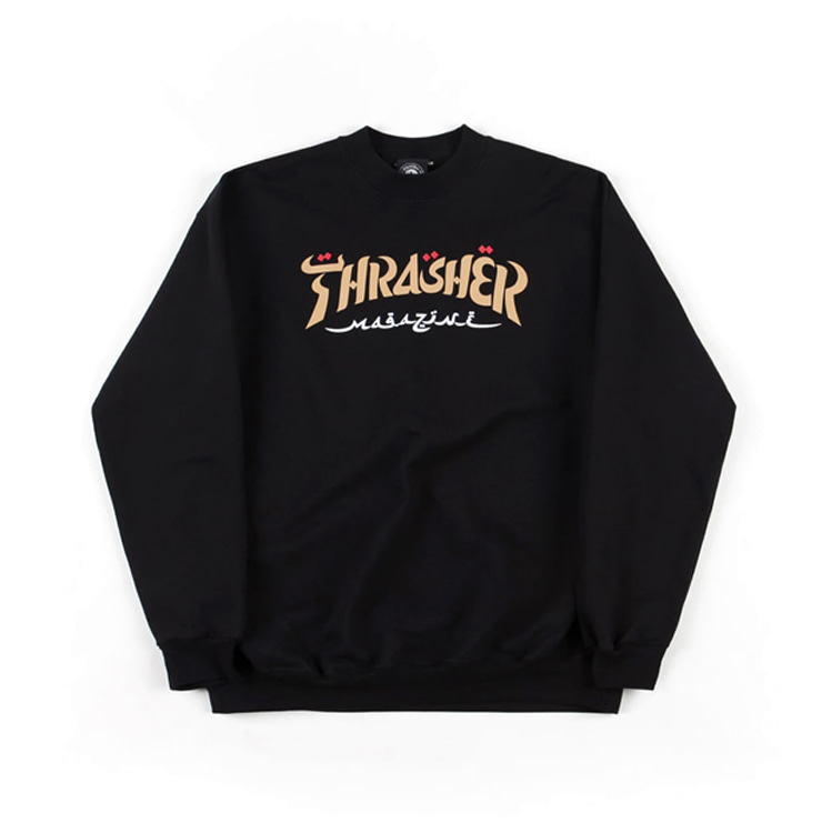 THRASHER CALLIGRAPHY CREW - BLACK