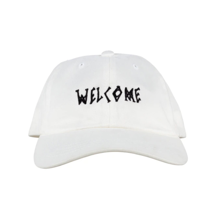 WELCOME SCRAWL PEACHED TWILL DAD HAT - WHITE/BLACK