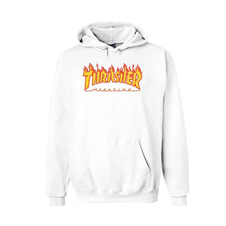 THRASHER FLAME HOOD - WHITE