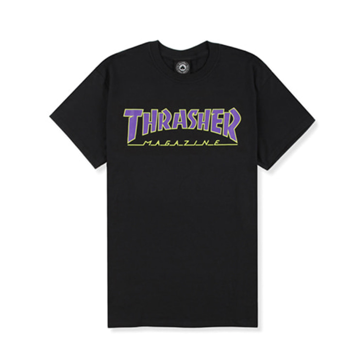 THRASHER OUTLINED TEE - BLACK/PURPLE