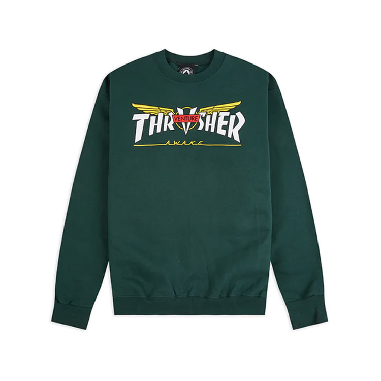 THRASHER X VENTURE VENTURE COLLAB CREW - FOREST GREEN