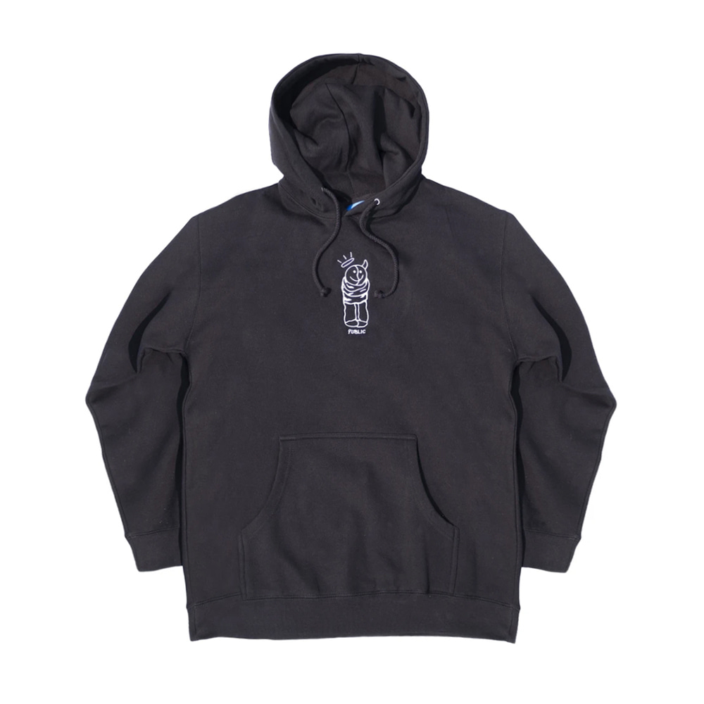 PUBLIC THERAPY HOODY BLACK (Embroidered)