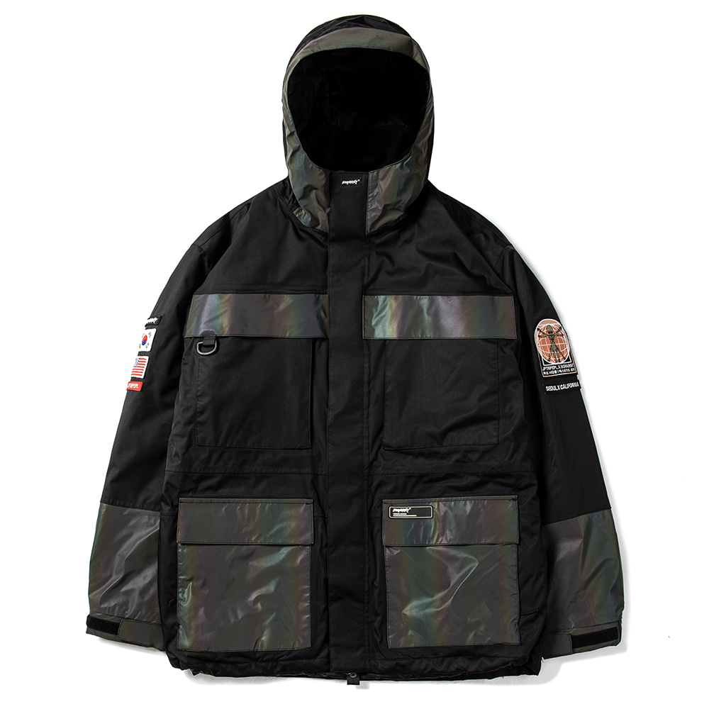 BSRABBIT JPXBR MOUNTAIN POW JACKET BLACK WITH RAINBOW REFLECTIVE