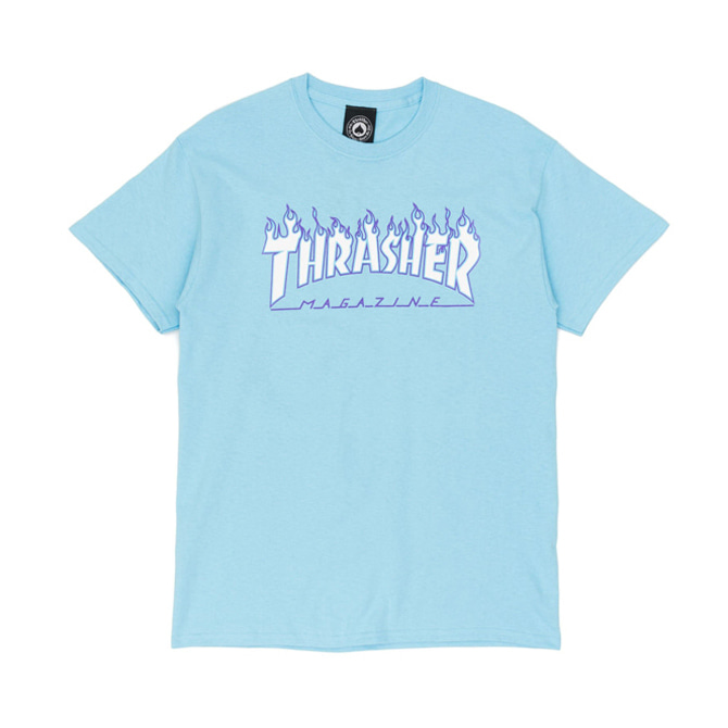 THRASHER FLAME TEE - SKY BLUE