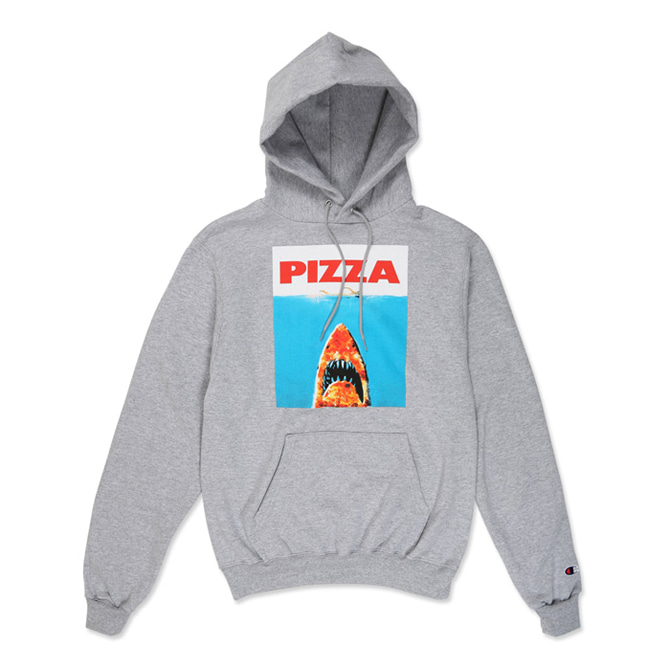 PIZZA SHARK CHAMPION HOODIE - GREY