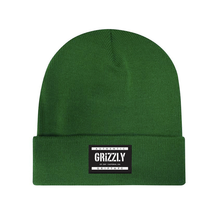 GRIZZLY LABELED BEANIE - GREEN