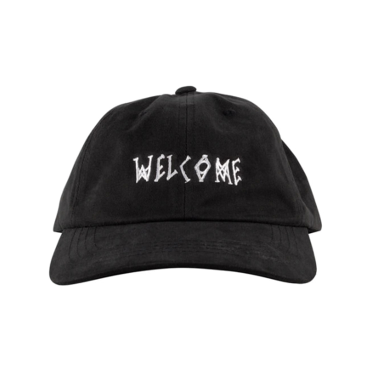 WELCOME SCRAWL PEACHED TWILL DAD HAT - BLACK/WHITE