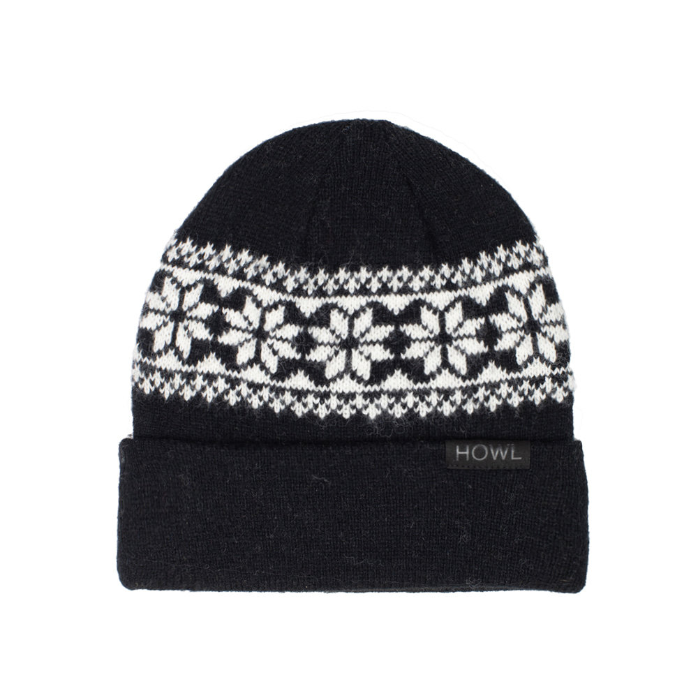 HOWL SUPPLY  SNOW FLAKE BEANIE BLACK