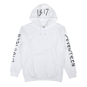 1817 CHICKEN SCRATCH PULLOVER HOODIE WHITE